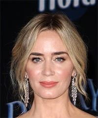 Emily Blunt Medium Straight Casual   Updo Hairstyle with Layered Bangs  -  Platinum Blonde Hair Color
