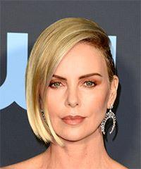 Charlize Theron Short Straight Casual  Bob Half Up Hairstyle with Side Swept Bangs  -  Platinum Blonde Hair Color