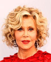 Jane Fonda Medium Curly Casual  Bob  Hairstyle with Side Swept Bangs  -  Blonde Hair Color