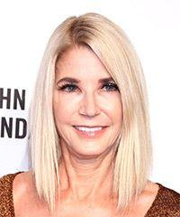 Candace Bushnell Medium Straight Casual  Bob  Hairstyle with Side Swept Bangs  - Light Blonde Hair Color