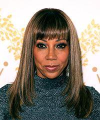 Holly Robinson Peete Long Straight Formal    Hairstyle with Blunt Cut Bangs  - Dark Copper Brunette Hair Color