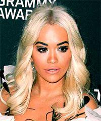 Rita Ora Long Wavy Casual    Hairstyle   - Light Platinum Blonde Hair Color