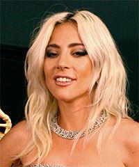 Lady Gaga Medium Wavy Casual    Hairstyle   - Light Blonde Hair Color