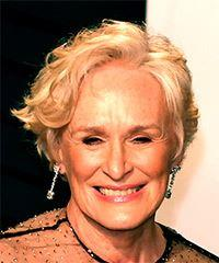Glenn Close Short Wavy Casual  Bob  Hairstyle with Side Swept Bangs  - Light Blonde Hair Color