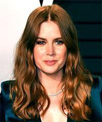 Amy Adams Long Wavy Casual    Hairstyle   - Dark Brunette and Copper Two-Tone Hair Color