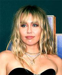 Miley Cyrus Medium Wavy    Blonde   Hairstyle with Blunt Cut Bangs