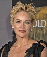Sharon Stone Short Straight Casual    Hairstyle   -  Honey Blonde Hair Color