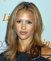 Jessica Alba Long Straight Casual    Hairstyle   - Dark Blonde and  Brunette Two-Tone Hair Color