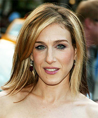 Sarah Jessica Parker Medium Straight Casual    Hairstyle with Side Swept Bangs