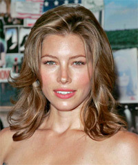 Jessica Biel Long Wavy Casual    Hairstyle   - Light Chestnut Brunette Hair Color