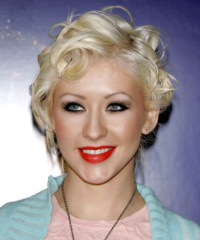 Christina Aguilera Medium Wavy Alternative  Emo Updo Hairstyle
