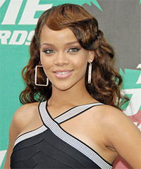 hair styles for head shapes curly formal hairstyle with layered bangs light 4970 | 5399 Rihanna d h