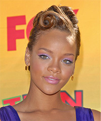 Rihanna  Long Straight Formal   Updo Hairstyle   - Light Golden Brunette Hair Color