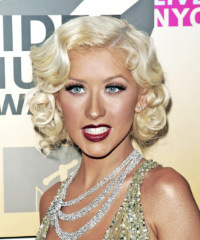 Christina Aguilera Medium Wavy Formal    Hairstyle   - Light Platinum Blonde Hair Color