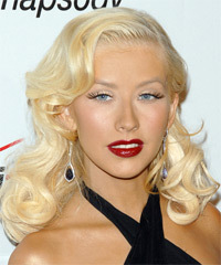 Christina Aguilera Long Wavy Formal    Hairstyle   - Light Blonde Hair Color