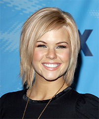 Kimberly Caldwell Medium Straight Casual  Bob  Hairstyle   - Light Strawberry Blonde Hair Color