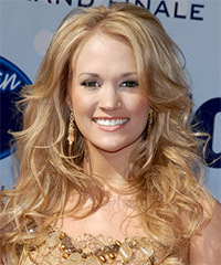 Carrie Underwood Long Wavy Formal    Hairstyle   -  Strawberry Blonde Hair Color