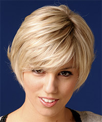 Short Straight Casual    Hairstyle   - Light Strawberry Blonde Hair Color
