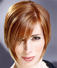 Short Straight Casual    Hairstyle with Side Swept Bangs  - Light Ginger Red Hair Color with  Blonde Highlights