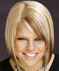 Medium Straight Formal    Hairstyle with Side Swept Bangs  - Light Golden Blonde Hair Color