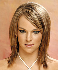 Long Straight Casual    Hairstyle with Side Swept Bangs  - Light Golden Brunette Hair Color