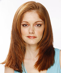 Long Straight Formal    Hairstyle   -  Auburn Brunette Hair Color