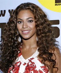 Beyonce Knowles Long Curly Casual    Hairstyle   - Dark Brunette Hair Color