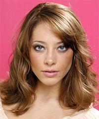Long Wavy Casual    Hairstyle with Side Swept Bangs  - Light Caramel Brunette Hair Color
