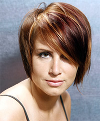 Short Straight Casual    Hairstyle with Side Swept Bangs  - Chestnut Hair Color
