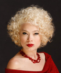 Short Curly Formal    Hairstyle   - Platinum Hair Color