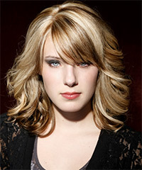Medium Wavy Formal    Hairstyle with Side Swept Bangs  -  Champagne Blonde Hair Color with  Brunette Highlights