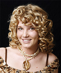 Medium Curly Formal    Hairstyle   -  Blonde Hair Color