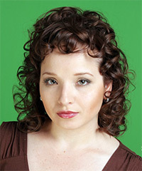 Medium Curly Formal    Hairstyle   - Chocolate Hair Color