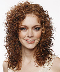 Long Curly Casual    Hairstyle   -  Auburn Brunette Hair Color