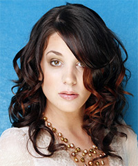 Long Curly Formal    Hairstyle   - Black  Hair Color with  Red Highlights