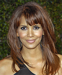 Halle Berry Long Straight Casual    Hairstyle with Blunt Cut Bangs