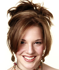 Long Straight Formal   Updo Hairstyle with Side Swept Bangs  -  Chestnut Brunette Hair Color with Dark Blonde Highlights