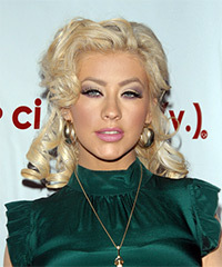Christina Aguilera  Long Curly Formal   Half Up Hairstyle   - Platinum Hair Color