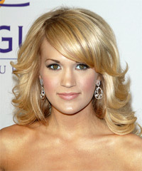 Carrie Underwood Long Wavy Formal    Hairstyle with Side Swept Bangs  -  Golden Blonde Hair Color with Light Blonde Highlights