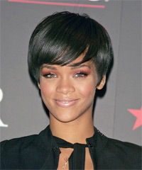 Rihanna Short Straight Casual    Hairstyle   - Black  Hair Color