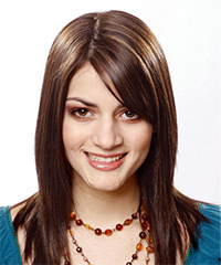 Long Straight Formal    Hairstyle with Side Swept Bangs  - Dark Chocolate Brunette Hair Color