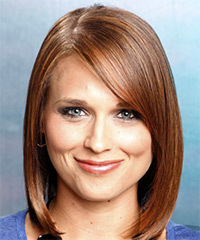 Medium Straight Casual  Bob  Hairstyle   -  Chestnut Brunette Hair Color