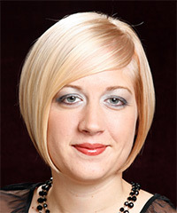 Short Straight Formal  Bob  Hairstyle with Side Swept Bangs  - Light Golden Blonde Hair Color