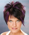Short Straight   Black Plum    Hairstyle   with Purple Highlights