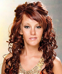 Long Curly Formal   Half Up Hairstyle   -  Mahogany Red Hair Color