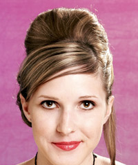 Long Straight Formal   Updo Hairstyle with Side Swept Bangs  - Light Caramel Blonde Hair Color