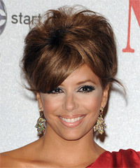 Eva Longoria Parker  Long Straight Formal   Updo Hairstyle with Side Swept Bangs  -  Caramel Brunette Hair Color