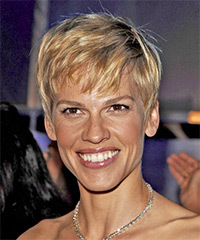 Hilary Swank Short Straight Casual    Hairstyle