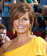 Mariska Hargitay Short Straight Formal   Half Up Hairstyle   - Light Chestnut Brunette Hair Color