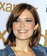 Mandy Moore Medium Straight Casual  Bob  Hairstyle with Side Swept Bangs  -  Auburn Brunette Hair Color